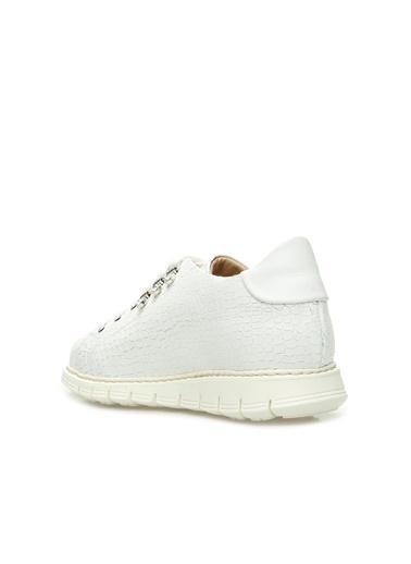 Divarese 5024256 Kroko Dokulu Kadın Deri Sneaker Beyaz